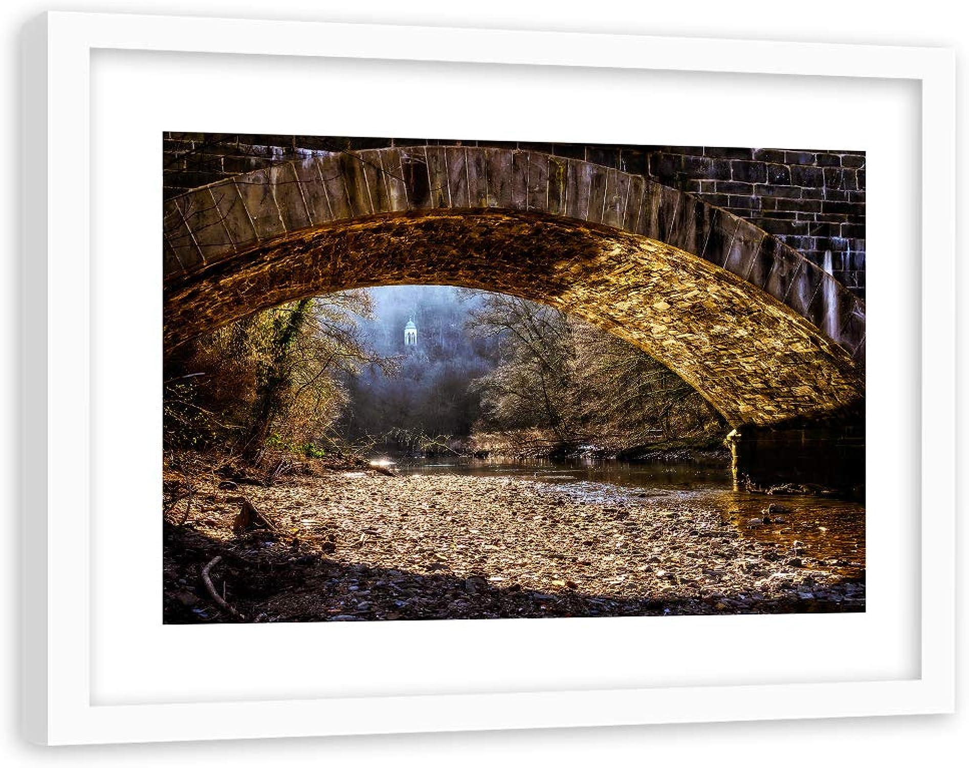 promociones Feeby Impresión de de de Arte Paisaje con Marco blancoo Río Piedras Bosque marrón 90x60 cm  Descuento del 70% barato