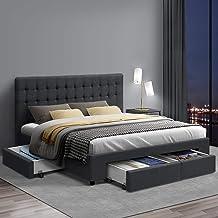Artiss King Bed Frame with Storage, Fabric Upholstered Platform Bed Frame, Charcoal