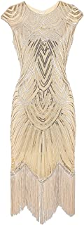 Women's 1920s Flapper Dress Crystal Beaded Sequin Embellished Fringed Gatsby Dress for Prom