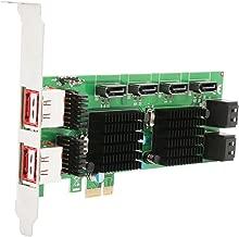 Syba SD-PEX40105 8-Port SATA-3 6G Dual Chipset PCI-E 2.0 x1 Slot Controller Card Internal and External Ports,