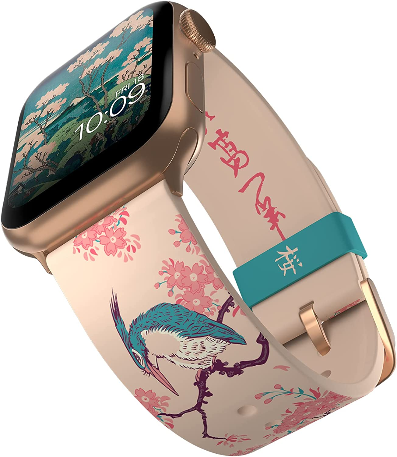 Hokusai - Cherry Blossom Smartwatch Band - Inspired by the Artist, Compatible with Apple Watch (not Included) - Fits 38mm, 40mm, 42mm and 44mm