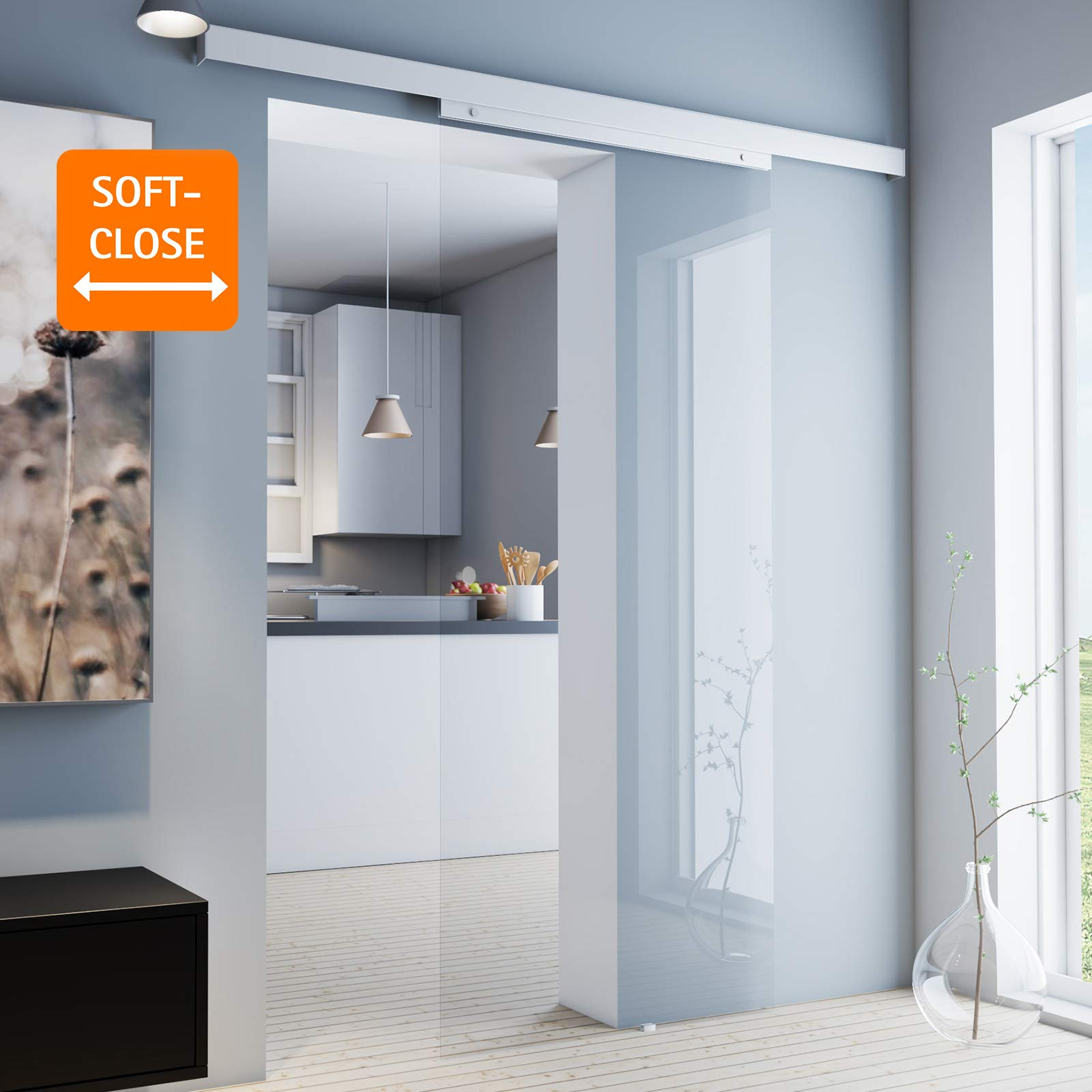 inova - Puerta corredera de cristal 755 x 2035 mm, puerta de cristal transparente de 8 mm, juego completo de herrajes de puerta corredera de aluminio opcional, cierre suave, Griffknopf+2seitiger Softclose: Amazon.es: Hogar