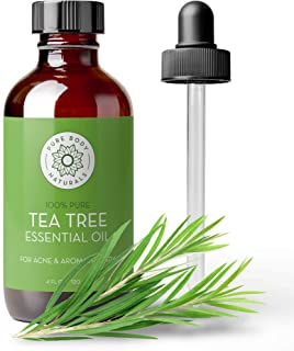 Tea Tree Essential Oil, 4 Fl Oz with dropper - Undiluted Therapeutic Grade for Your Face, Skin, Hair and Diffuser - 100% P...