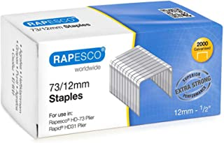 Rapesco Staples, 73/12 mm (1/2 Inch) Staples for Heavy Duty Plier Stapler - Pack of 2000