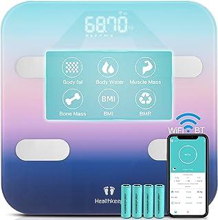 Báscula Grasa Corporal Báscula Baño Conexión WiFi y Bluetooth, Talla Grande Báscula Inteligente de Alta Precisión, Monitores de Composición Corporal con APP para Andriod y IOS Smartphone
