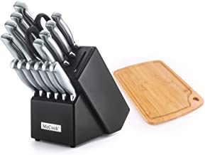 McCook MC37 16 Pieces FDA Certified Stainless Steel Hollow Handle Knife Set in Hard Wood Block with Built-in Sharpener Plus Bonus Bamboo Cutting Board,Stainless Steel