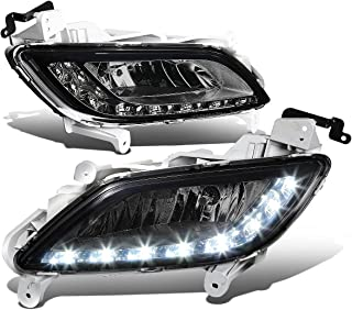 For Veloster Pair of Bumper Driving Fog Lights w/White LED DRL (Smoked Lens)