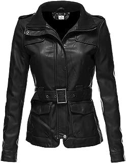VearFit Women's Utiline Genuine Leather Trench Coat Blazar Missy Regular and Plus Size