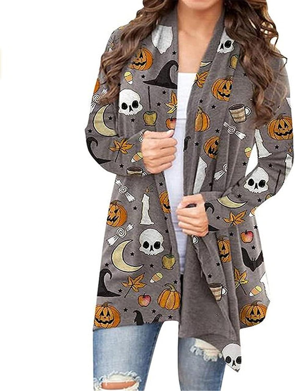 Halloween Lightweight Summer Cardigan for Women Cat Pumpkin Print Long Sleeve Soft Oversized Open Front Autumn Coat Blouses