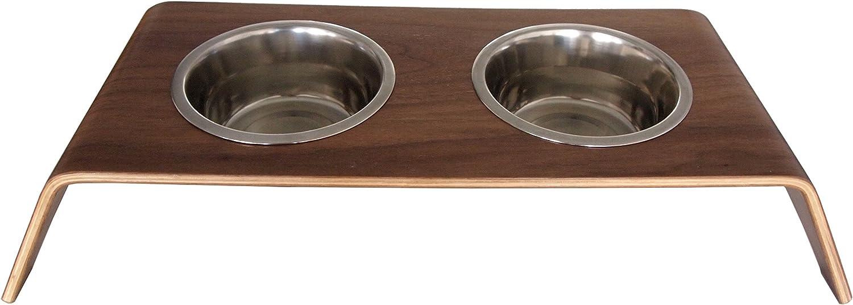 BowhausNYC Bentwood Dog Bowl, Brown