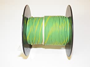 Light Green/Yellow Striped, 18 GA Gauge AWG GXL Wire, 100' Spool, For Automotive, Truck, Motorcycle, RV. General Purpose Copper .94 O.D. Abrasion Resistance, High Heat