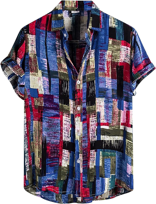 Moxiu Men's Hawaiian Shirt Floral Print Casual Loose Button Down Short Sleeves Aloha Beach Shirt