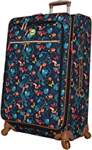 Lily Bloom Luggage Large Expandable Design Pattern Suitcase With Spinner Wheels For Woman (Sloth To Me Navy, 28in)