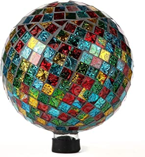 Lily's Home Colorful Mosaic Glass Gazing Ball, Designed with a Stunning Holographic Square Mosaic Pattern to Bring Color and Reflection to Any Home and Garden, (10