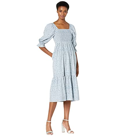 Madewell Lucie Elbow Sleeve Smocked Midi Dress in Sunflower Field