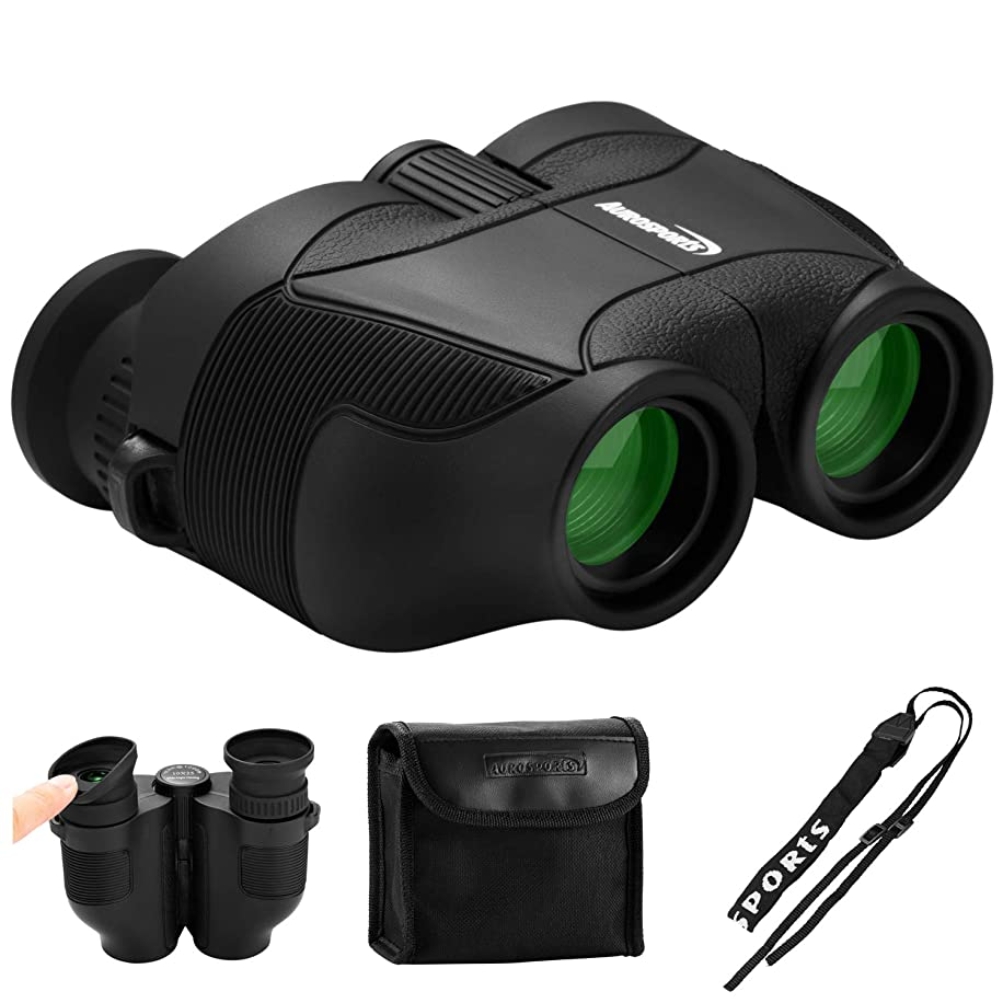 Aurosports 12x25 HD Compact Binoculars with New Upgraded Foldable Eyepiece,High Powered Binocular with FMC BAK4 Prism Fit Adults Kids for Bird Watching Hunting Camping Hiking Concert