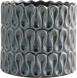 Little Green House Round Ceramic Vase, Dark Blue
