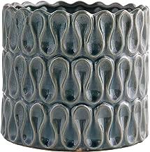 Little Green House Round Ceramic Vase, Dark Blue