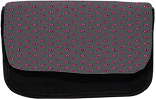Ambesonne Skull Pencil Case, Emo Skulls Teen Culture, Fabric Pen Pencil Bag with Double Zipper, 8.5