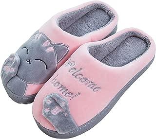 Rojeam Ladies Cute Cat Animal Plush Slip On Winter Warm Bedroom Shoes Non Slip House Slippers for Women Men