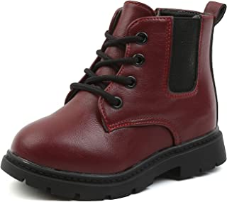 Komfyea Boys and Girls Casual Lace Up Zipper Outdoor Ankle Boots(Toddler/Little Kids)