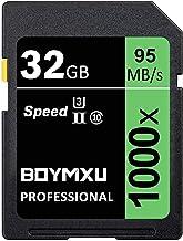 32 گیگابایت کارت SD، BOYMXU حرفه ای 1000 x کلاس 10 SDHC UHS-I U3 کارت حافظه سازگار دوربین های دیجیتال و دوربین های فیلمبرداری، کارت حافظه SD تا 95MB / s، سبز / سیاه