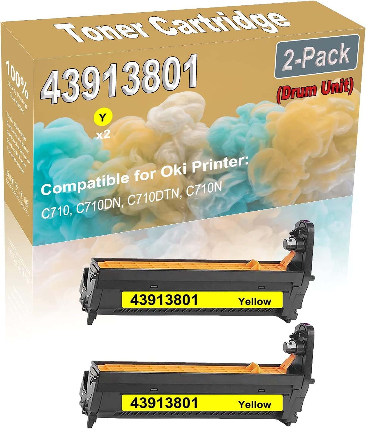 2-Pack (Yellow) Compatible High Capacity 43913801 Printer Drum Unit Used for Oki C710, C710DN, C710DTN, C710N Printer