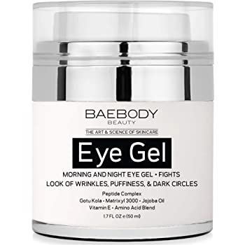 Baebody Eye Gel for Under and Around Eyes to Smooth Fine Lines, Brighten Dark Circles and De-Puff Bags with Peptide Complex and Soothing Aloe, 1.7 Ounces
