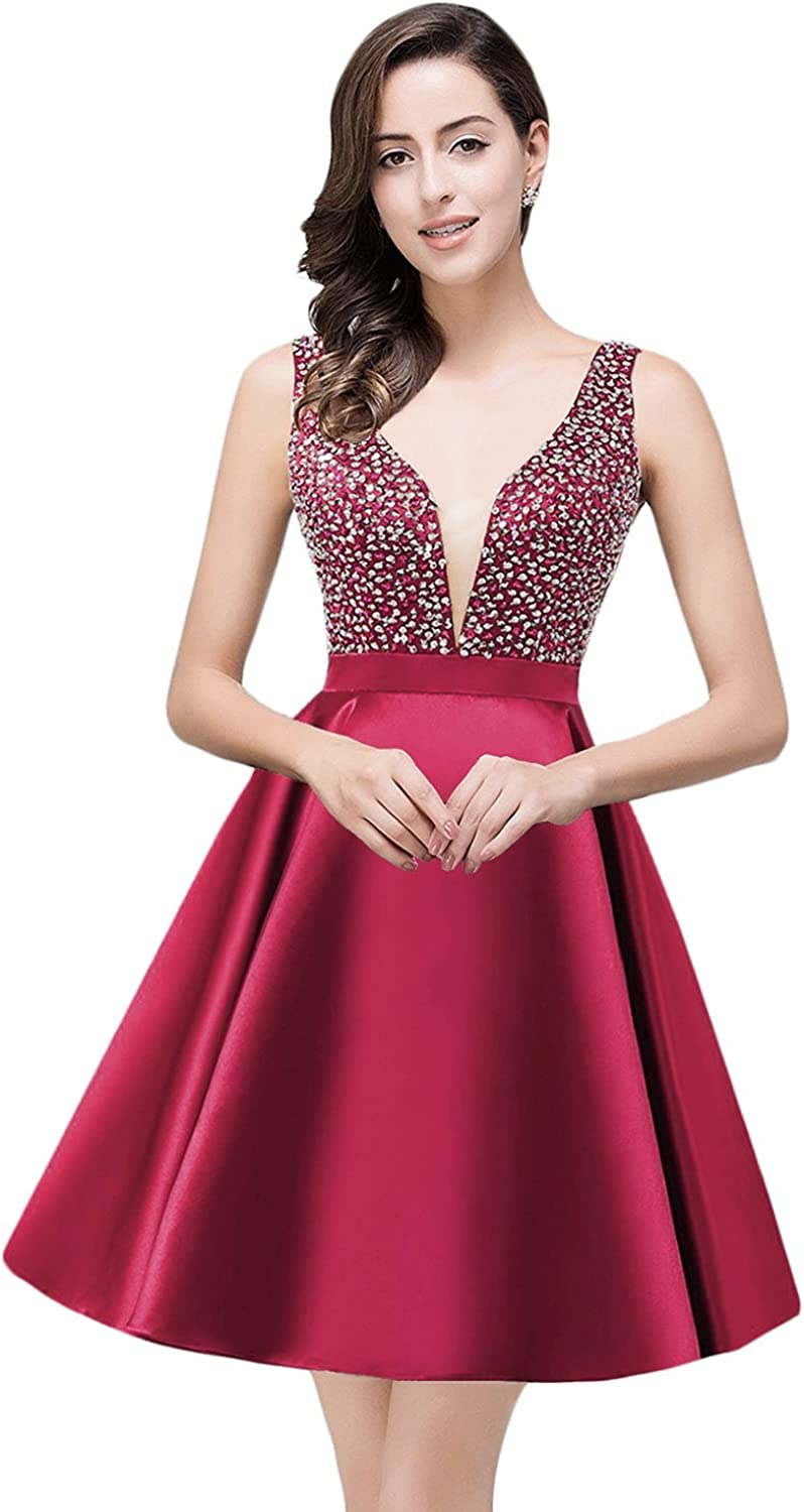 YSMei Women's Short Sequins Prom Party Gown V Neck Homecoming Dress 2017 HC177