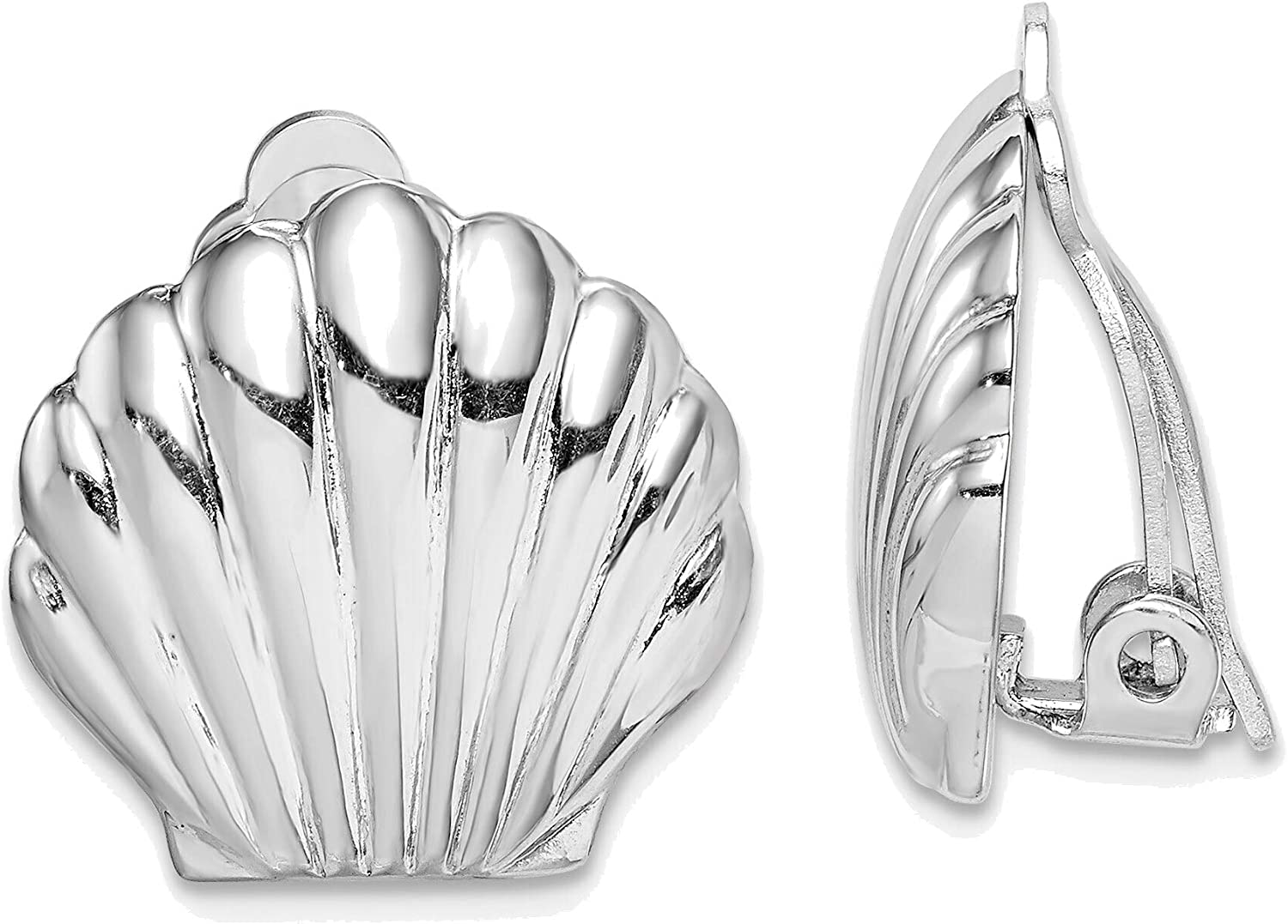 Solid Sterling Silver High material Elegant Rhodium-plated Polished Earr Clip Shell On