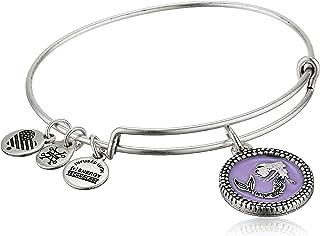 Alex and Ani Women`s Color Infusion Mermaid Charm Bangle Bracelet, Rafaelian Silver, Expandable