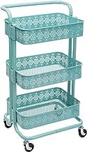 DOEWORKS 3-Tier Mesh Metal Utility Cart, Rolling Organizer Storage Cart with Handle, Aqua Blue