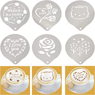 Coffee Art Stencils Stainless Steel Barista Stencil Design Template Decorating Cappuccino Latte Cookie Cupcake Bread Cocktail - 6 Pack