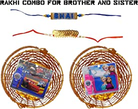 Majik Rakhi Special Combo Offer for Younger Sister and Brother 2 Baskets with 2 Wallet with Watch and 2 Cute Rakhis for Children 20 Grams Multicolor Pack of 1