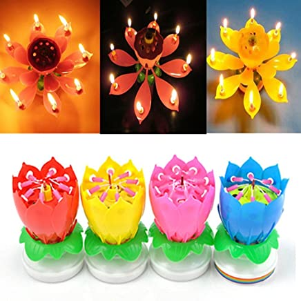 SYF 4 Pack Romantic Happy Birthday Music Play Lotus Candle Magic Musical Flower Special For
