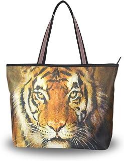 ALAZA Tote-Schulter-Tasche Tiger-Malerei-Handtasche Groß