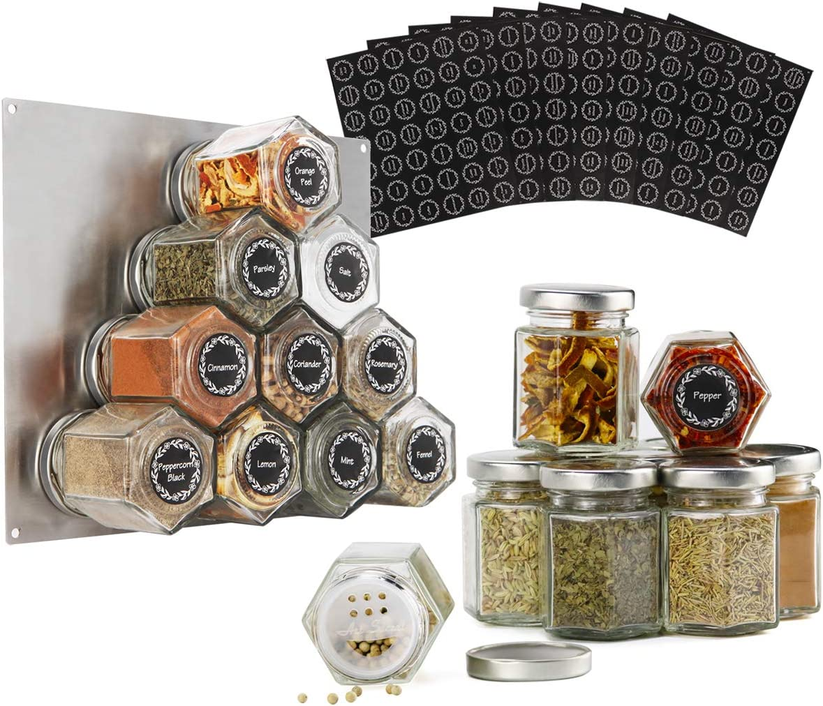 16-Pack 3oz Magnetic Spice Popular brand in the world Jar Hexagon Shaker shopping Lids an with Glass