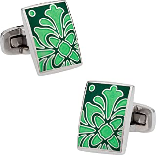 أزرار أكمام خضراء أوراق شجر للأساور مع صندوق هدايا   وصلات أصلية عضوية فاخرة لأفكار هدية الزفاف مع صندوق سفر