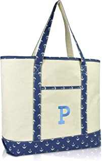 Initial Tote Bag Personalized Monogram Navy Blue Anchor Zippered Top Letter - P