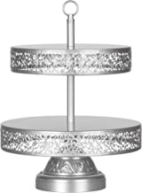 Amalfi Decor 2 Tier Dessert Cupcake Stand, Large Pastry Candy Cookie Tower Holder Plate for Wedding Event Birthday Party, Round Metal Pedestal Tray, Silver