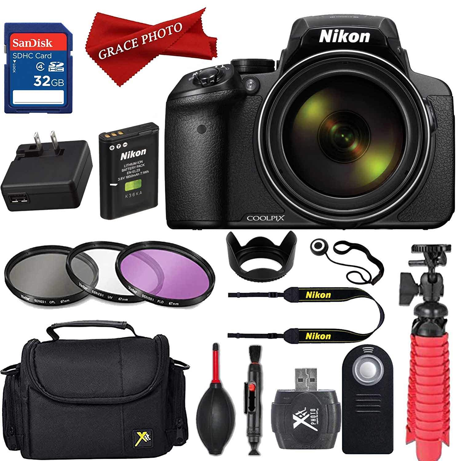 Nikon COOLPIX P900 Digital Camera with 83x Optical Zoom and Built-in Wi-Fi (Black) and Accessories