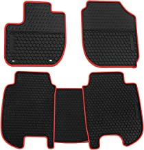 biosp Car Floor Mats for Honda HR-V HRV 2016 2017 2018 2019 Front and Rear Seat Heavy Duty Rubber Liner Black Red Vehicle Carpet Custom Fit-All Weather Guard Odorless