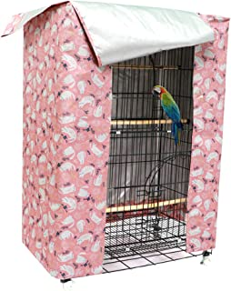 hi hide friends Large Bird Cage Cover Good Night Parakeet Cage Cover Washable Parrot Cage Shield (Pink)