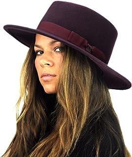 e8fd553ad8a NYFASHION101 Wool Wide Brim Porkpie Fedora Hat w Simple Band Accent