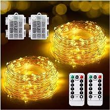 2-pack LED-kerstverlichting, 12M flexibele kerstverlichting Batterij met 120 LED 8 modi Afstandsbediening Timer Waterdicht...