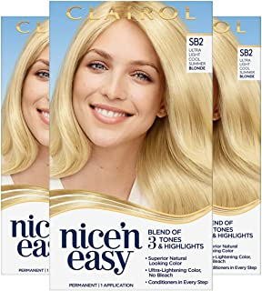 Clairol Nice'n Easy Permanent Hair Color, SB2 Ultra Light Cool Summer Blonde, Pack of 3