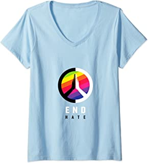 Womens End Hate - JVY Creations V-Neck T-Shirt