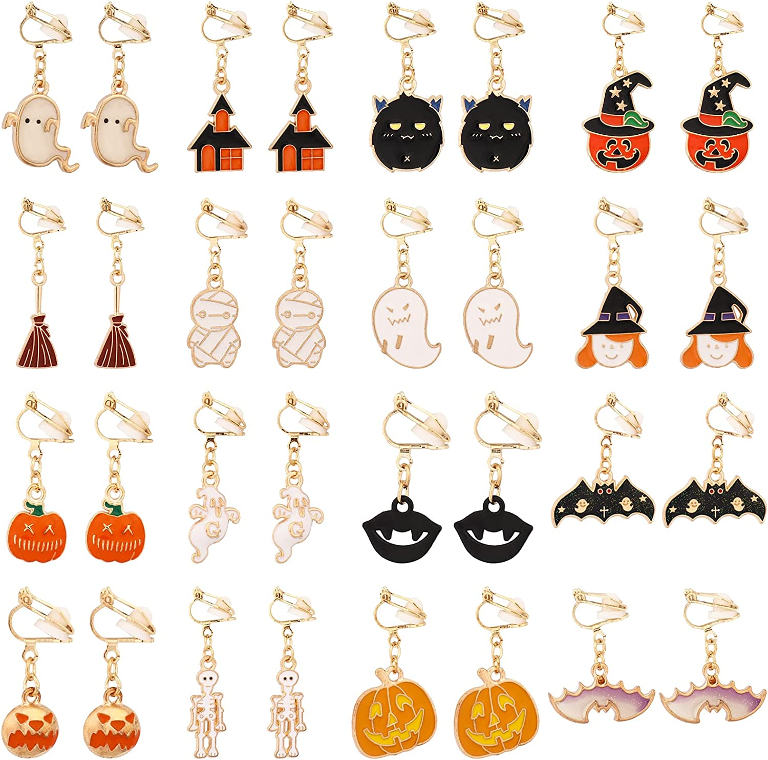 SOTOGO 16 Pairs Clip On Earrings Pumpkin Bat Ghost Witch Earrings for Little Girls and Women Cute