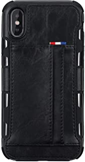 Mobile Phone Leather Bag Case for iPhone 8 6s 6 7 8 Plus X XS Max XR Soft All-Knock Protection Cases with Wallet Card Holder,Black,for iPhone Xs max