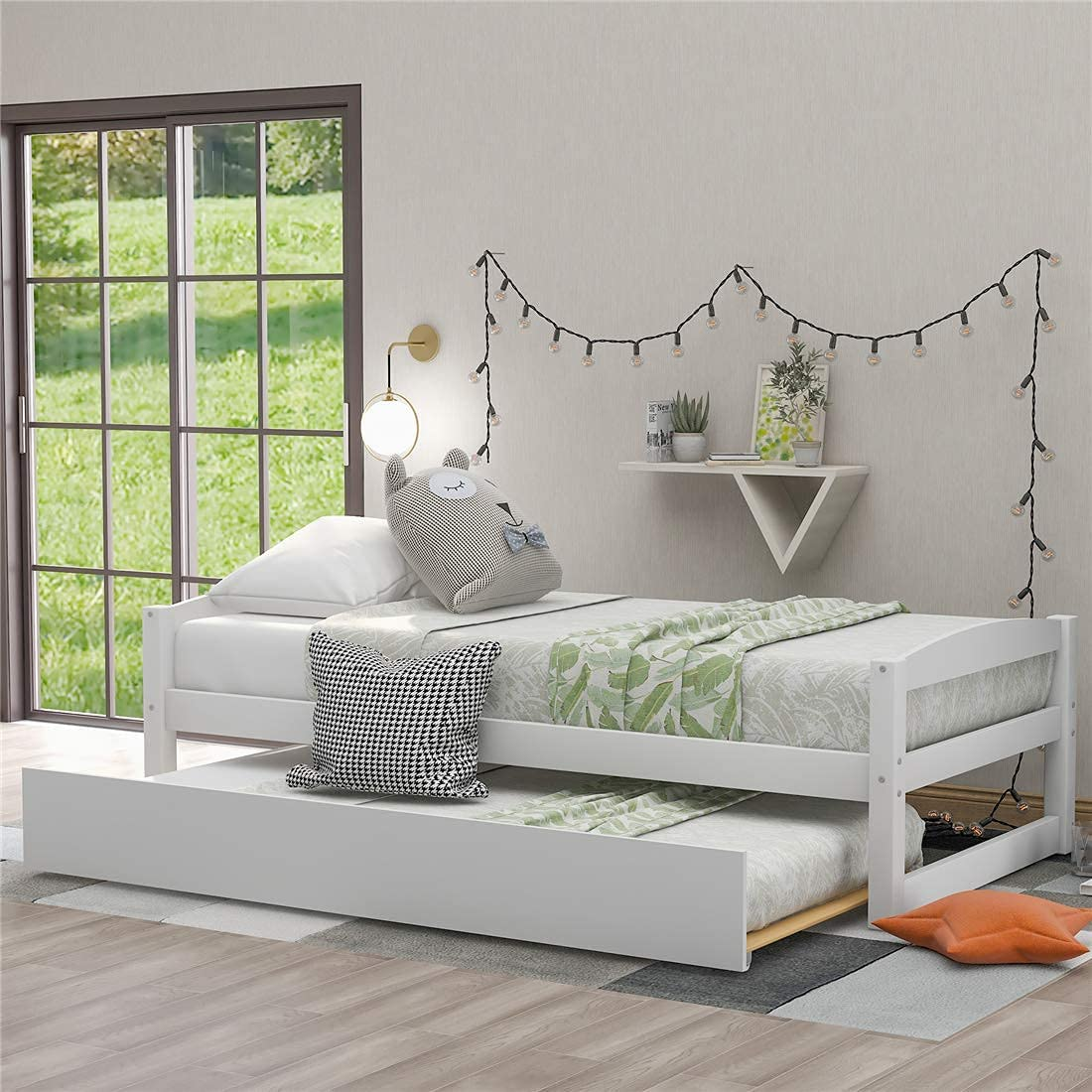 New popularity US Warehouse NUFR Home Platform Bed with Solid Trundle Wo Max 55% OFF Pine